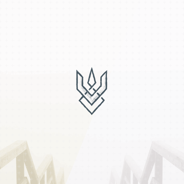 Geometric brand with the title 'Abstract and unique trident logo'