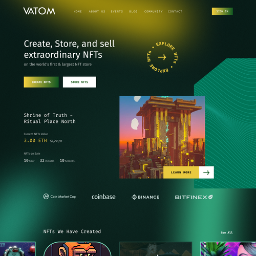 Mining design with the title 'Crypto NFTs Homepage iteration'