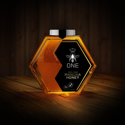 Logo label with the title 'ONE Manuka Honey (Logo & Label design)'