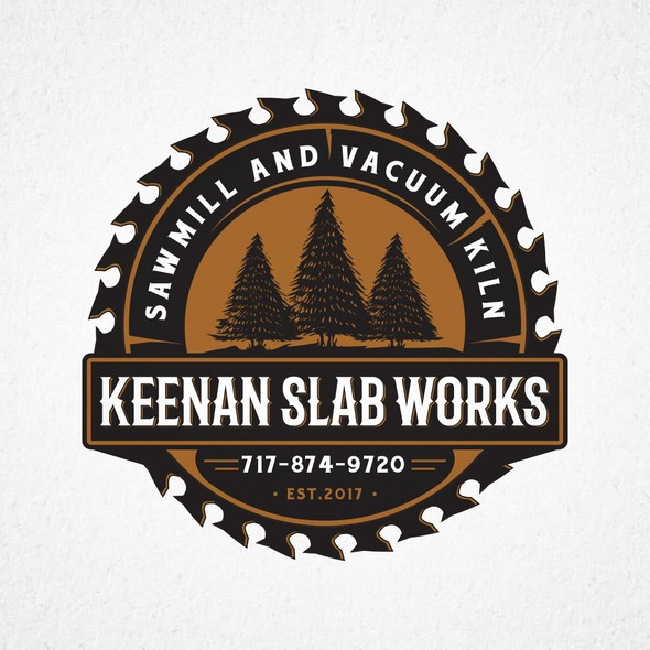 Saw blade design with the title 'Keenan Slab Works'