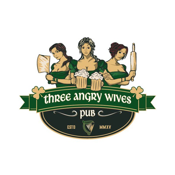 Irish pub design with the title 'Three Angry Wives'