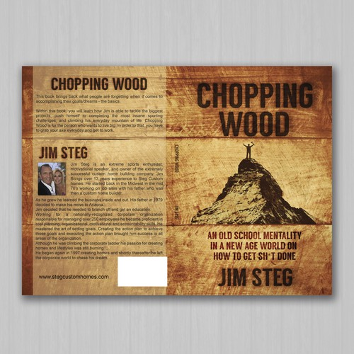 Old-fashioned design with the title 'Chopping Wood  by Jim Steg'