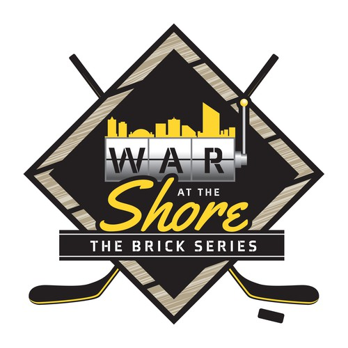 Hockey stick logo with the title 'War At The Shore'