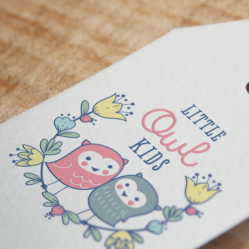 Cute animal design with the title 'Little Owl Kids - quirky boutique'