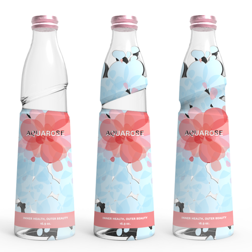 Glass packaging with the title '3D bottle design and label for up and coming plant based beverage (CADDesign)'