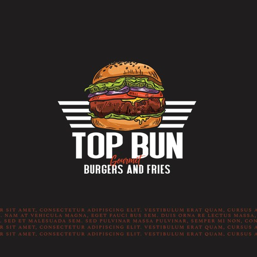 Gourmet logo with the title 'top bun burger'