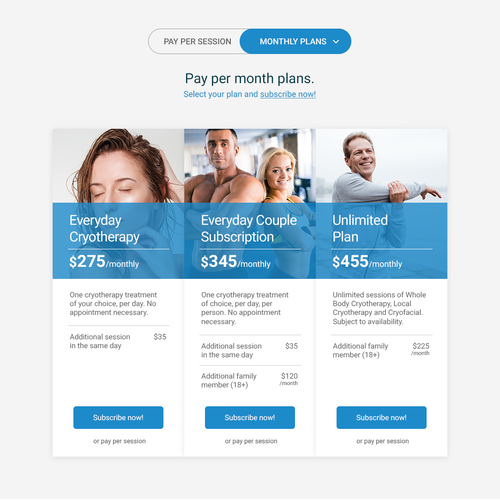 Content design with the title 'Pricing page for Cryotherapy business'