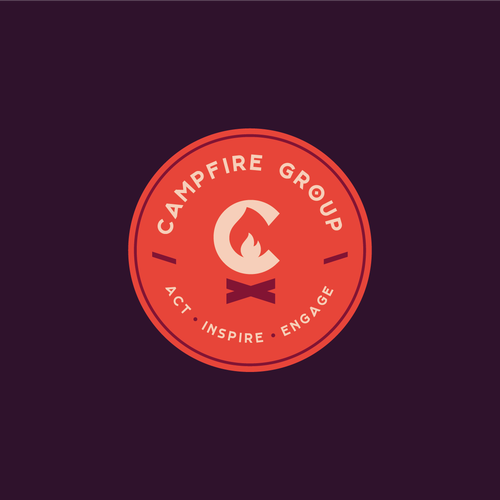 Summer camp logo with the title 'Campfire Group'