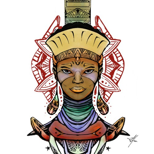 Female warrior design with the title 'Tattoo design for Afro Warrior Godess'