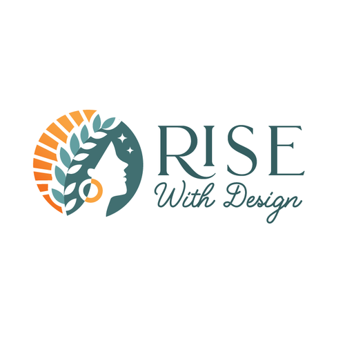 Sun logo with the title 'Rise with design '