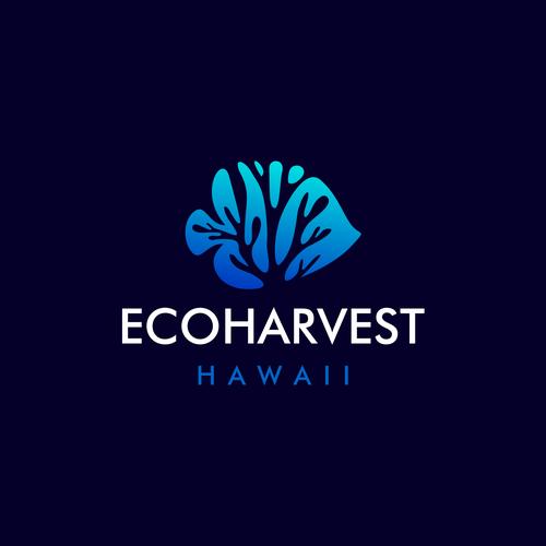 Trout logo with the title 'EcoHarvest Hawaii   Fish Logo   Fishing Logo   Coral Logo   Reefs Logo   Aquarium Logo'