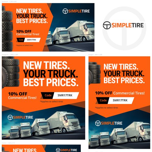 Ecommerce design with the title 'Advertising campaign for the tire dealer'