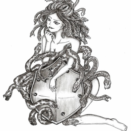 Snake illustration with the title 'Illustrate a elegant shield with snakes peering out from behind it for me'