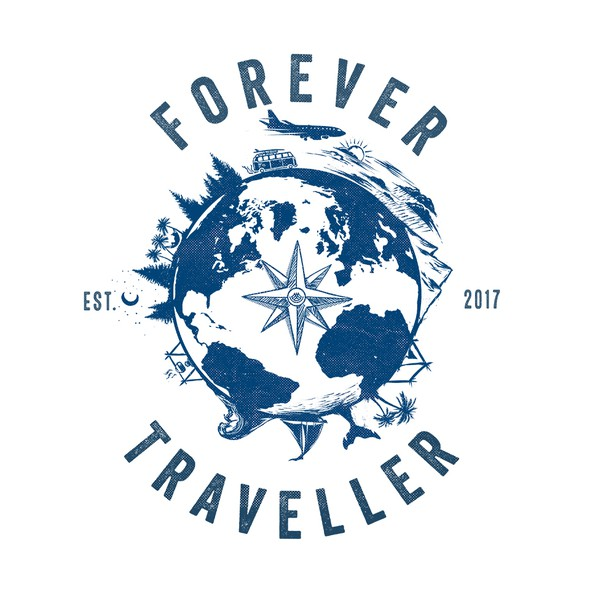 Earth t-shirt with the title 'Forever Traveller'