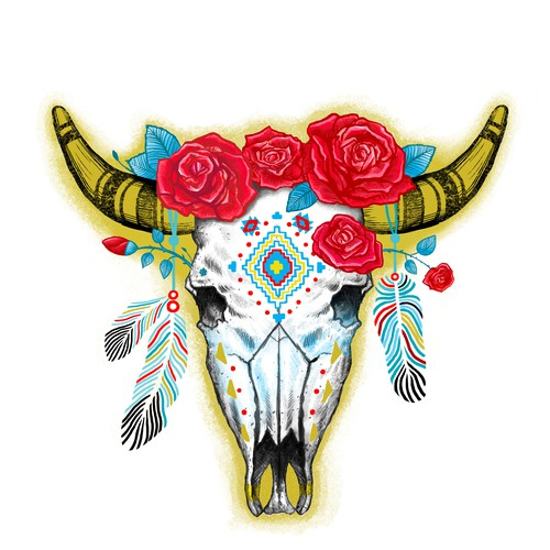 Rose design with the title 'Boho cow scull'