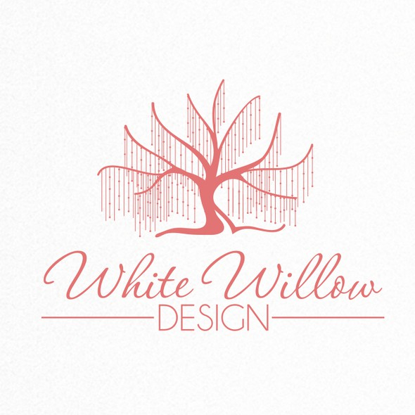 Willow logo with the title 'Create an inspiring and fun identity for White Willow Kids - making kids spaces sparkle!'
