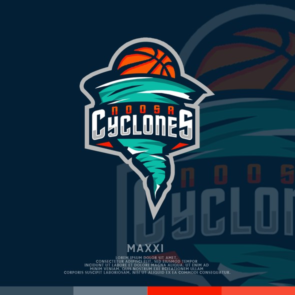 Vortex logo with the title 'Cyclones Basketball'