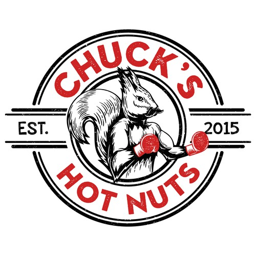 Mustache design with the title 'Logo-stamp Chuck's Hot Nuts'
