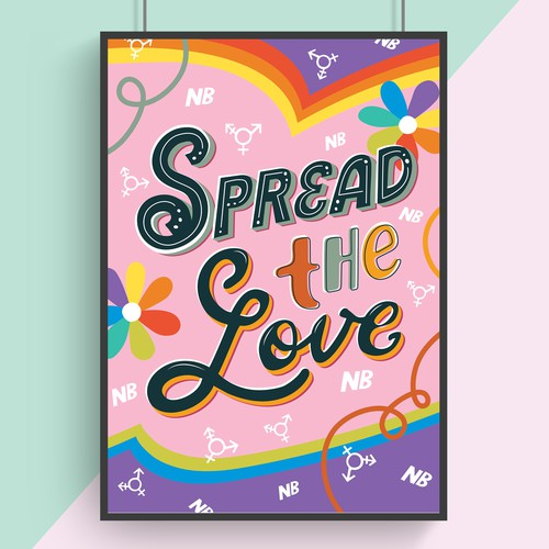Lettering artwork with the title 'LGBTQ Rights poster'