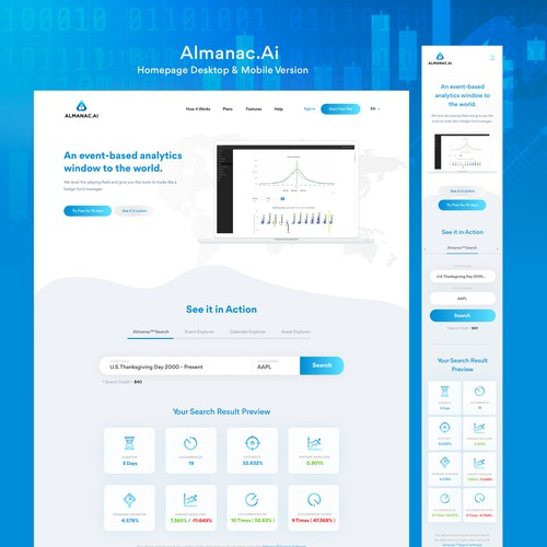 Analytics website with the title 'Almanac.Ai - An event-based analytics window to the world'