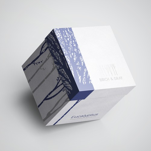 Candle packaging with the title 'Minimalist Packaging Design for Birch & Gray Aroma Diffuser '