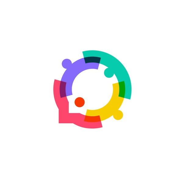 Overlapping logo with the title 'people family together human unity chat bubble logo vector icon'