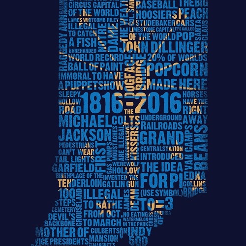 Text design with the title 'Indiana Bicentennial Typography'