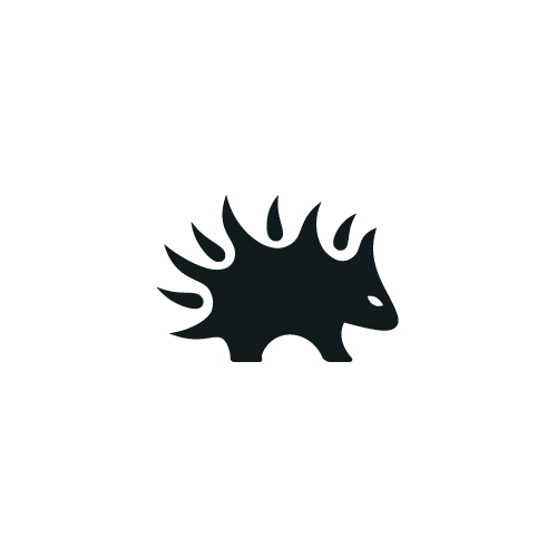 Black and yellow logo with the title 'sweet-lil' Porcupine'