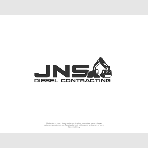 Heavy equipment logo with the title 'Design a powerful logo for a Diesel Fitting Company'