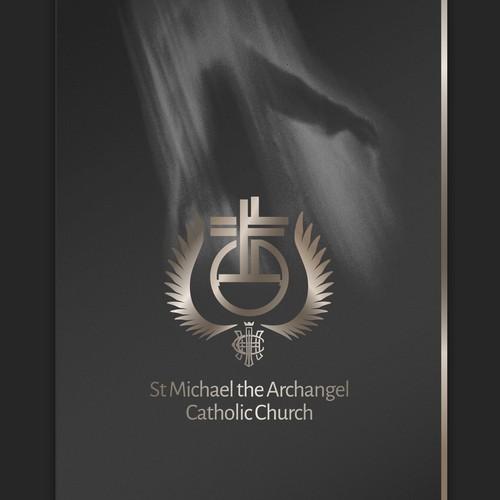 Angel design with the title 'Interpretative mark for a Catholic church'
