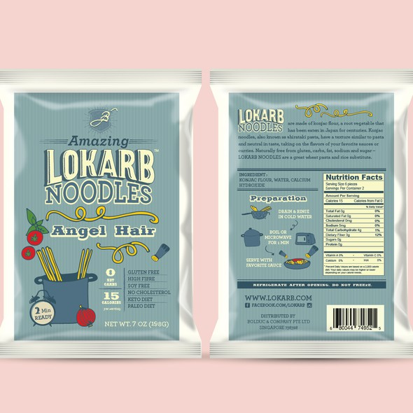 Spaghetti design with the title 'LOKARB Noodles'