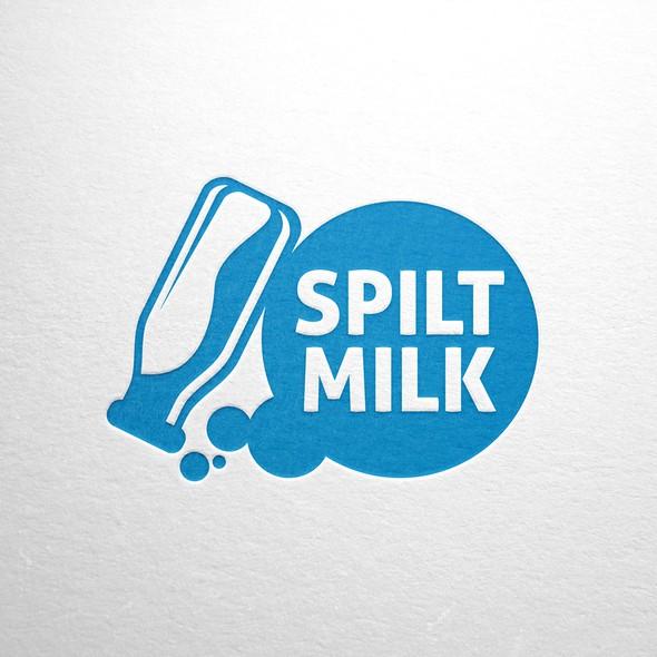 Blue and white logo with the title 'Got Milk? Logo for Spilt Milk!'