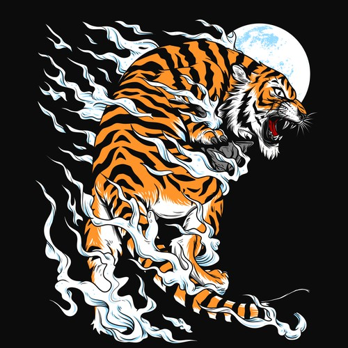 Cat t-shirt with the title 'Brave Tiger '