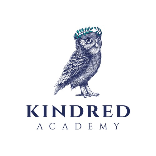 Whimsical design with the title 'Realistic illustration of owl for Kindred Academy'