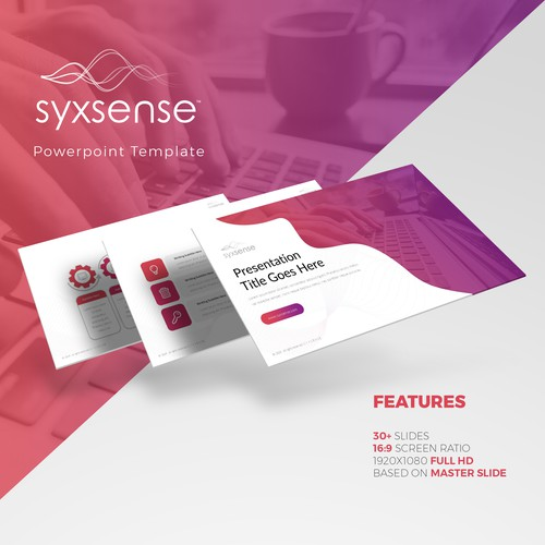 Google Slides design with the title 'Syxsense Inc. Powerpoint Template Design'