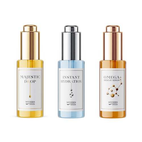 Natural cosmetics packaging with the title 'Packaging design for serie of luxury elixirs'
