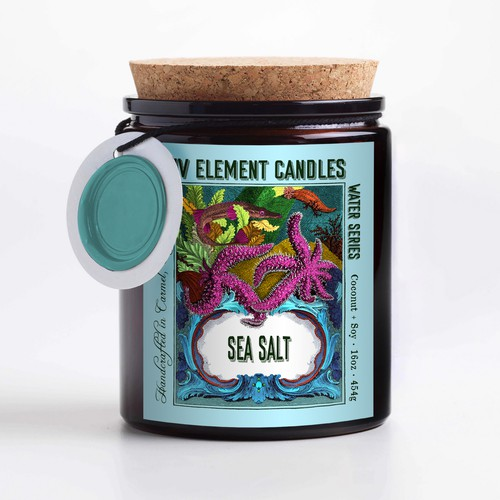 Water label with the title 'Four element candle label design'