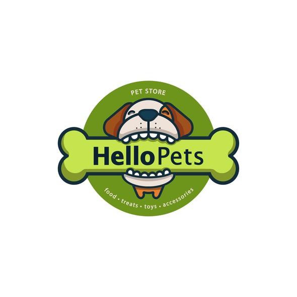 Pet shop logo with the title 'Hello Pets Pet Store'