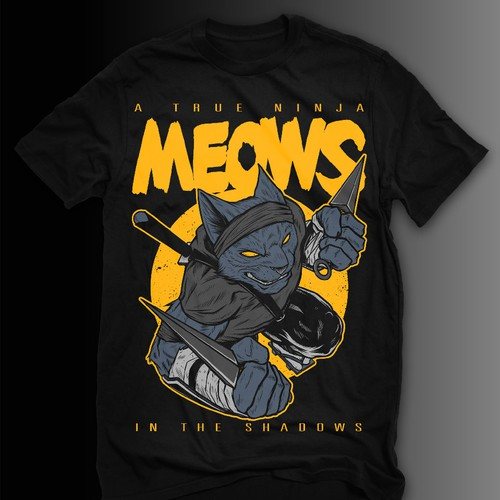 Ninja t-shirt with the title 'MEOWS'