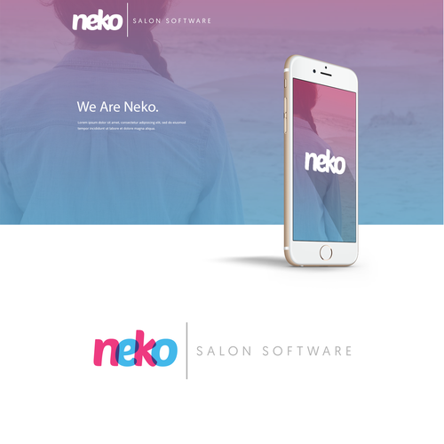 Blue and pink logo with the title 'Modern, Fun & Fresh Logo-Type for Neko'