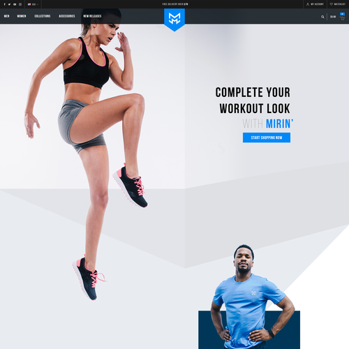 Sportswear design with the title 'Homepage proposal for Sportswear brand'