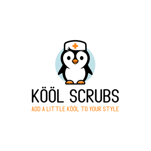 Penguin design with the title 'Logo for a line of medical scrubs'