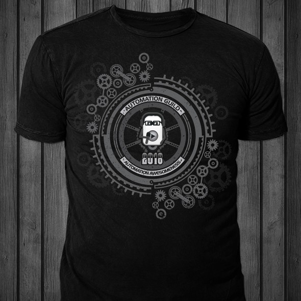 Grey t-shirt with the title 'T-shirt design for Automation Guild 2018'