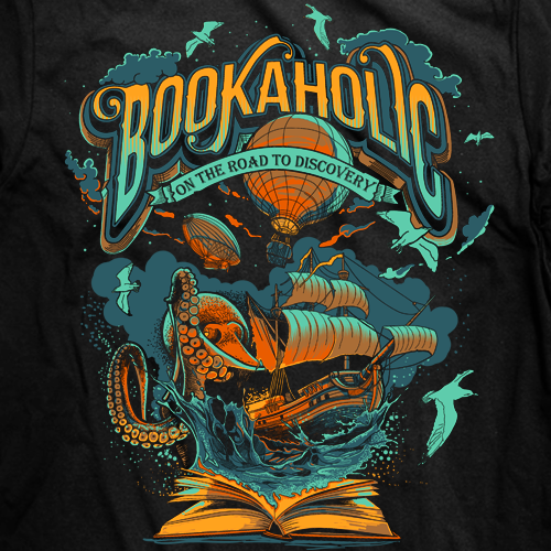 Ship t-shirt with the title 't-shirt design for bookaholic'