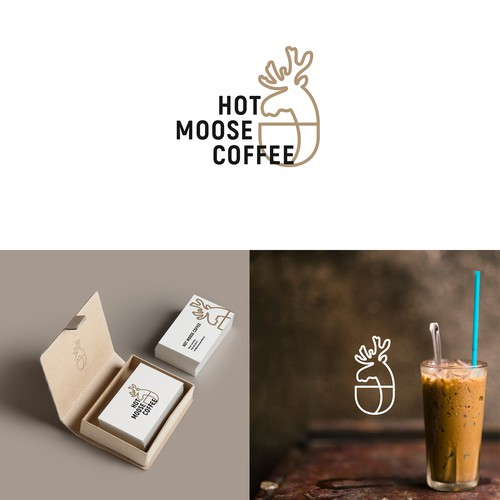 Elk logo with the title 'Logo Hot Moose Coffee'