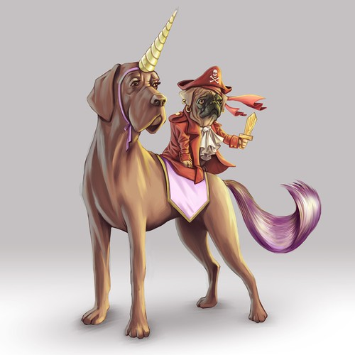 Halloween design with the title 'Cute pug pirate riding a unicorn Great Dane'