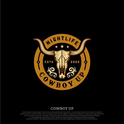 Patch logo with the title 'COWBOY UP NIGHTLIFE LOGO'