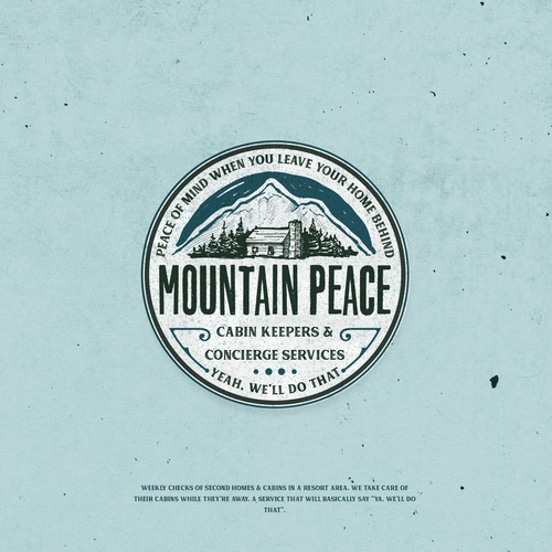 Peaceful logo with the title 'Mountain peace'