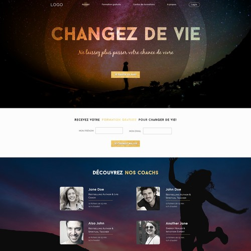 Gold website with the title 'Alternative self-help coaching site design'