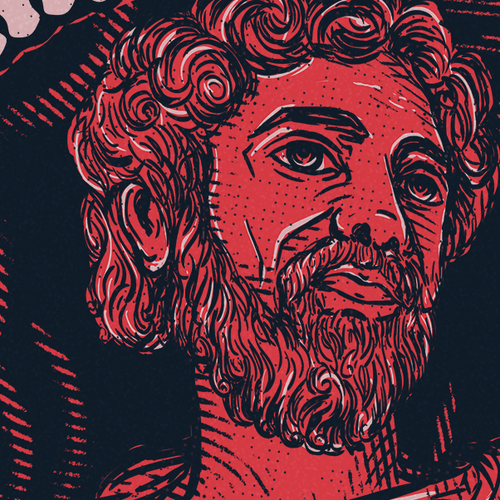 Quote t-shirt with the title 'Illustration of Marcus Aurelius '